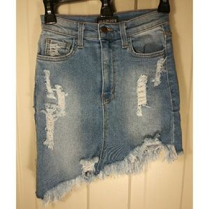 Stretchy distressed denim jean skirt destroyed S